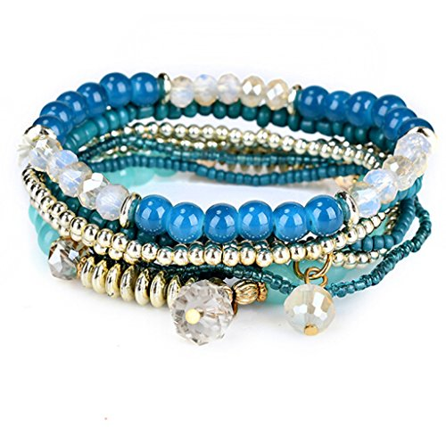 Multilayer Bohemian Blue Beaded Bracelet Crystal Pendant Charm Stretch Beach Stack Bangle Bracelet Set 7 Colors for Women Jewelry (Blue Bracelet Baby)