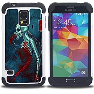 For Samsung Galaxy S5 I9600 G9009 G9008V - BLOOD DEATH GRIM BLUE SKULL SKELETON Dual Layer caso de Shell HUELGA Impacto pata de cabra con im??genes gr??ficas Steam - Funny Shop -