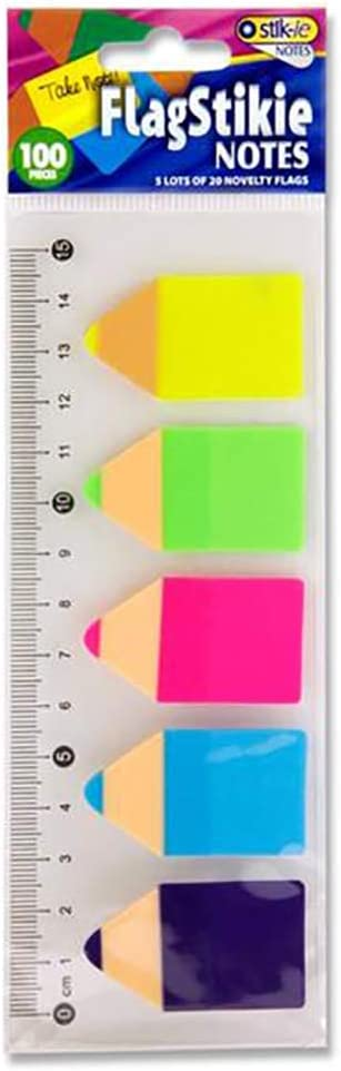 Premier Stationery 5 x 20 bandierine 100 pezzi. segnapagina a forma di matita con pratico righello .