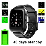 Fitness Watch - SMA Swimming Waterproof Tracker - Bluetooth Smartwatch - Heart Rate Monitor for iPhones Android Women men (black)