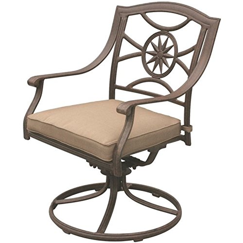 (Darlee Ten Star Patio Swivel Dining Chair in Antique Bronze (Set of 2))