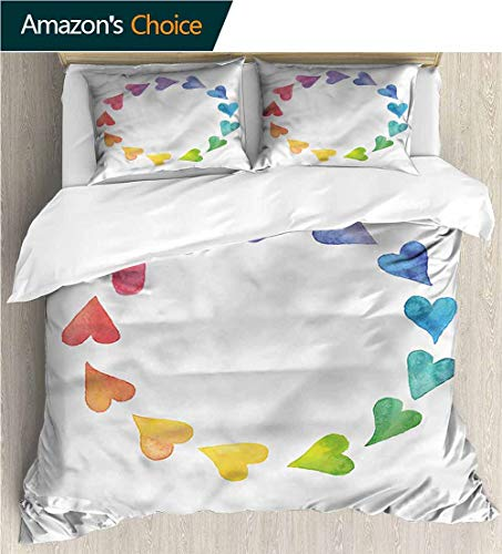 (Full/Queen Size Quilt Bedding Set,Box Stitched,Soft,Breathable,Hypoallergenic,Fade Resistant 3 Piece Bedding Quilt Coverlets - 100% Cotton Bed Quilts Coverlet-Rainbow Hand Drawn Hearts Circle)
