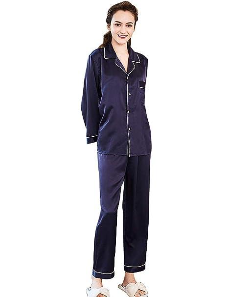 Mujer Pijamas Mujer Primavera Otoño Satín Batas Tops Pantalon 2 Basic Pedazos Elegantes Moda Classic Simplemente Albornoz Manga Larga V-Cuello Un Solo Pecho ...