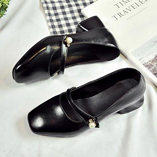 RUGAI-UE Retro Squsmall zapatos de moda de cuero grueso boca superficial Black