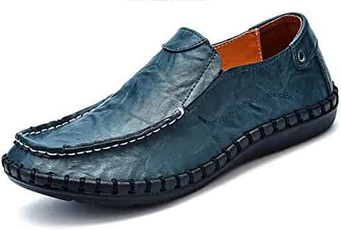 7a62b3851862a Mofri Men s Trendy Leather Round Toe Low Top Driving Slip on Flats Loafers  Boat Shoes