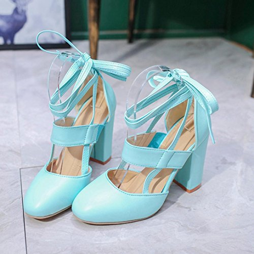 Muium Women Fashion Sandals, Ladies Summer Round Head High Heeled Sandals Solid Color Ankle Strap Party Wedding Shoes Blue