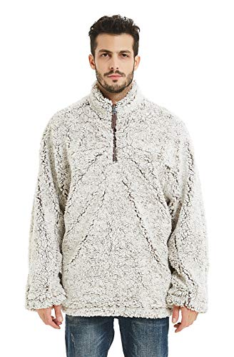 Gyryp Fleece Sherpa Pullover Hoodie Mens 1/4 Zip Pullover Frosty Pile Tipped Stadium Sweater