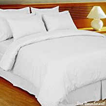 Luxurious Egyptian Cotton 800 Thread Count Striped Duvet Cover Full/Queen White