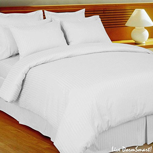 Luxurious Egyptian Cotton 550 Thread Count Striped Duvet Cover Twin Extra Long White