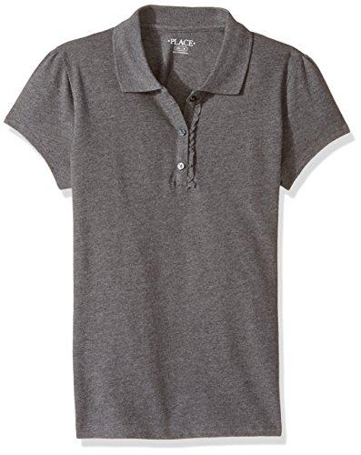 Grey Uniform - The Children's Place Big Girls' Uniform Short Sleeve Polo, Dark Heather Grey-Ruffle 44795, XXL(16)