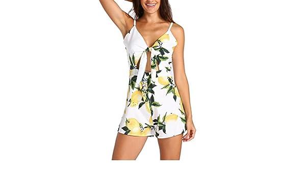 Yesmile Vestido de Mujer Mono Sin Mangas con Estampado Floral ...