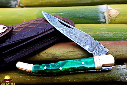 DKC Knives DKC-698-GP-P-DS Green Pearl Cobra Resin Prince Laguiole Damascus Steel Folding Pocket Knife 4