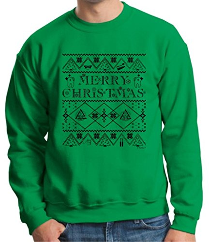Ugly Christmas Sweater for Dental Hygenists Crewneck Sweatshirt XXX-Large Green