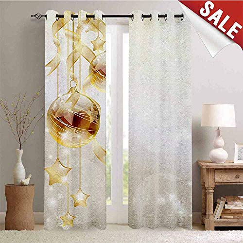 Hengshu Christmas Customized Curtains Gold Color Xmas Balls with Swirled Ribbons and Stars Abstract Background Window Curtain Drape W108 x L108 Inch Brown Yellow Beige