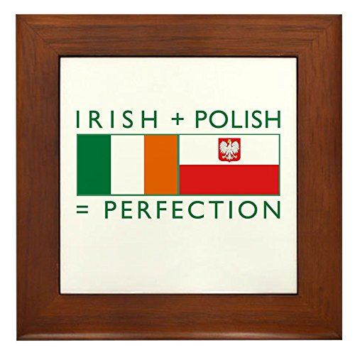 CafePress - Irish Polish flags Framed Tile - Framed Tile, Decorative Tile Wall ()