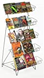 Set of 2 - Display Rack For Books, DVDs, Greeting Cards, etc, 22-1/2''w x 24''d x 44-1/2''h, Gloss Black Wire, Floor-Standing Fixture, Sign Slot