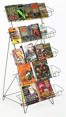 "Set of 2 - Display Rack For Books, DVDs, Greeting Cards, etc., 22-1/2""w x 24""d x 44-1/2""h, Gloss Black Wire, Floor-Standing Fixture, Sign Slot"