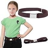 #5: Romanlin Kids Belt Solid Color Adjustable Elastic Belt with Silver Buckle
