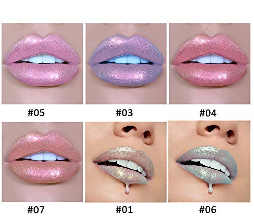 (MEIQING Glitter Shimmer Women Lip Gloss Waterproof Long Lasting Bold Vivid Colorful Lipgloss Nude Lipstick Lip Kit Halloween Christmas Makeup)