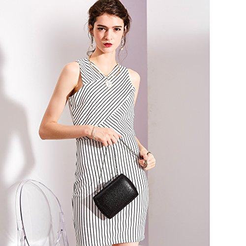 Prom WALLYN'S Strap Glitter Rhinestones Clutch Evening Purse Chain Black Womens Handbag zwYIqFX
