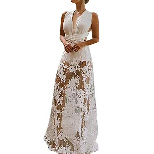 13aeae8f386ff Amazon.com: kanyankeji Sling Halter Wedding Dress Sexy Deep V ...