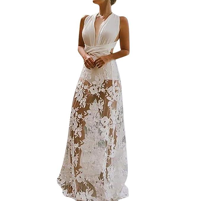 fef498319a7 Women s Elegant Hollow Lace Sling Cross White Maxi Dress