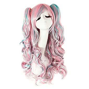 MapofBeauty Lolita 2 Clip Ponytails Long Curly Party Costume Cosplay Wigs