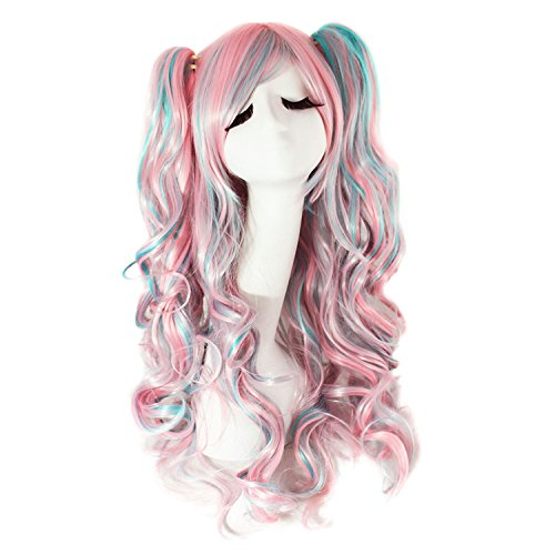 MapofBeauty Lolita 2 Clip Ponytails Long Curly Party Costume Cosplay Wigs -