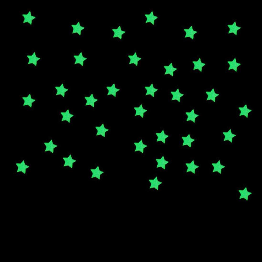 Erthome 100pc enfants Chambre à coucher fluorescent Glow in the Dark étoiles Stickers muraux 3x 3cm, bleu