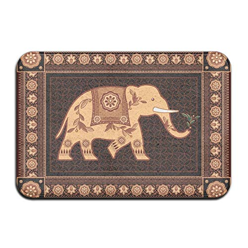 HUVATT Elephant Flower Pattern Home Door Mat Super Absorbent