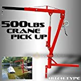 "XtremepowerUS 500Lb Pickup Truck Hydraulic PWC Dock Jib Engine Hoist Crane Hitch Mount Lift 2"" Hitch Mount, Red"