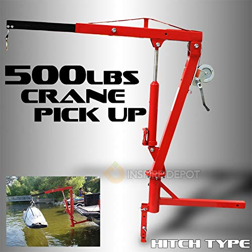 Hydraulic Trucks Lift - XtremepowerUS 500Lb Pickup Truck Hydraulic PWC Dock Jib Engine Hoist Crane Hitch Mount Lift 2
