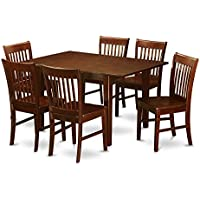East West Furniture PSNO7-MAH-W 7-Piece Kitchen/Dinette Table Set, Mahogany Finish