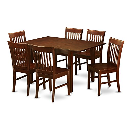 East West Furniture PSNO7-MAH-W 7-Piece Kitchen/Dinette Table Set, Mahogany - Piece 7 Leaf