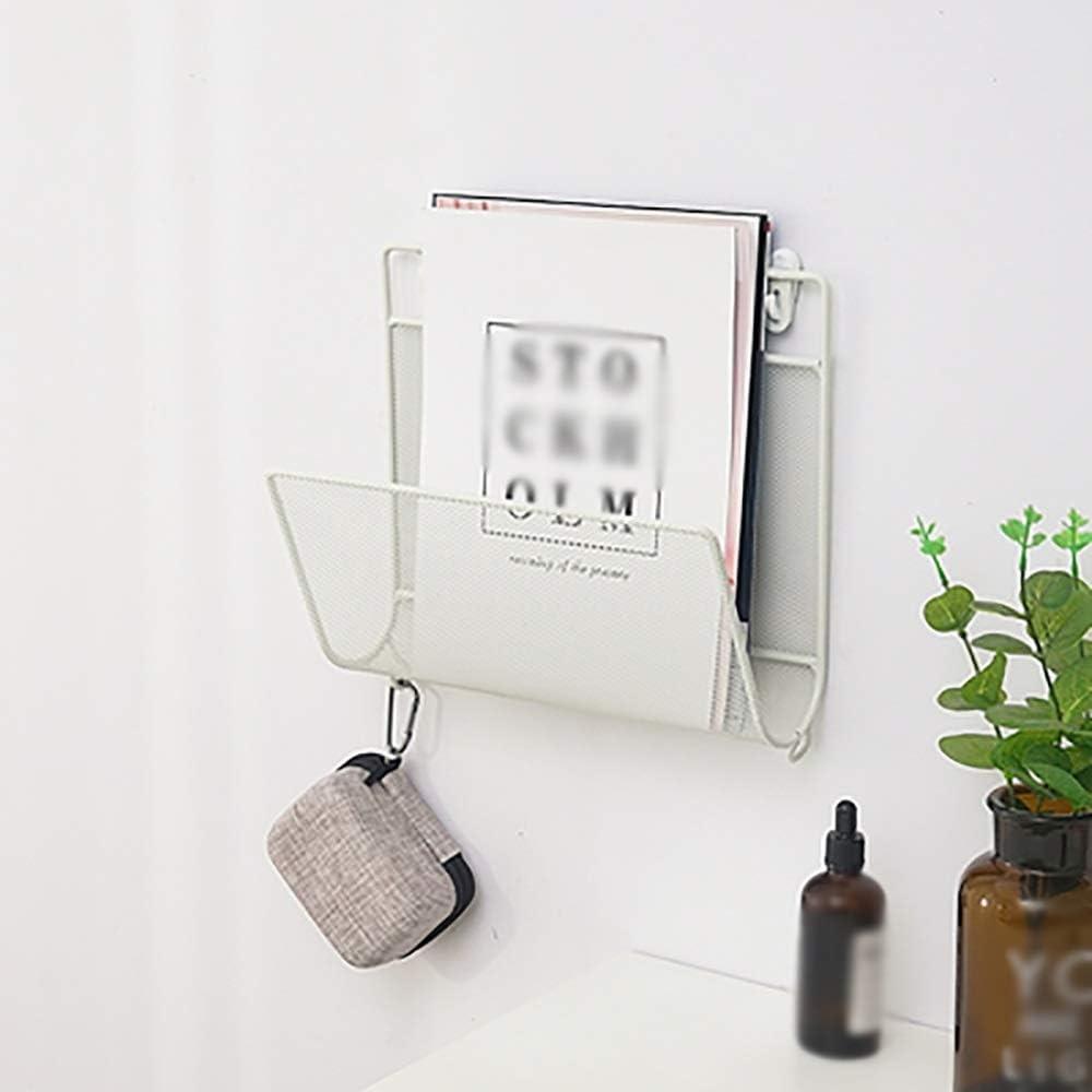 Color : Blanco JB-SJ Colgador De Pared Creativo Estante para Revistas Estante para Peri/ódicos De Hierro Estante De Almacenamiento De Libros para El Hogar con Gancho