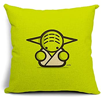 Chicozy Life Cotton Linen Square Cute Star Wars Characters Decorative Pillow Cover Cushon Cover for sofa Pillow Cushion Gift Outdoor Pillowcase 17.7inch