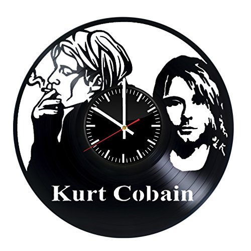 Fun Door Kurt Cobain HANDMADE Vinyl Record Wall Clock – Perfect gifts for birthday wedding anniversary valentine's mother's father's day - Gift ideas for men and women him and (Cobain Costumes Kurt)