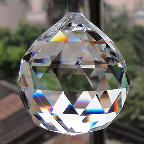 Petrichor Clear Crystal Hanging Ball Feng Shui Prisms Sun-Catcher Window Decorative Good Luck Prosperity - Home Decoration/Gifting (40 MM)