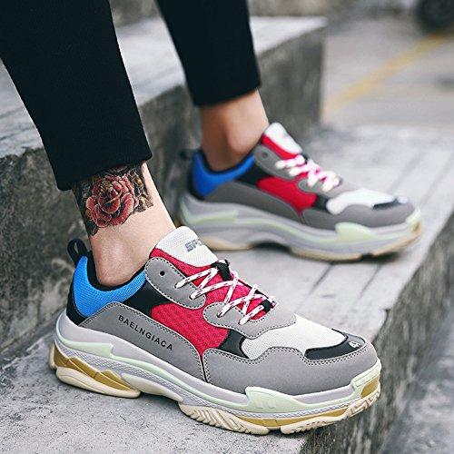Zapatos de Size Gris Tamaño Running Seasons New Gran Lovers de Tamaño Shoes Sneakers Layer Gran Heighten Zapatos Mesh Four Caminar para Viaje Hombres Mujeres EU Ocio Ewwq4SP