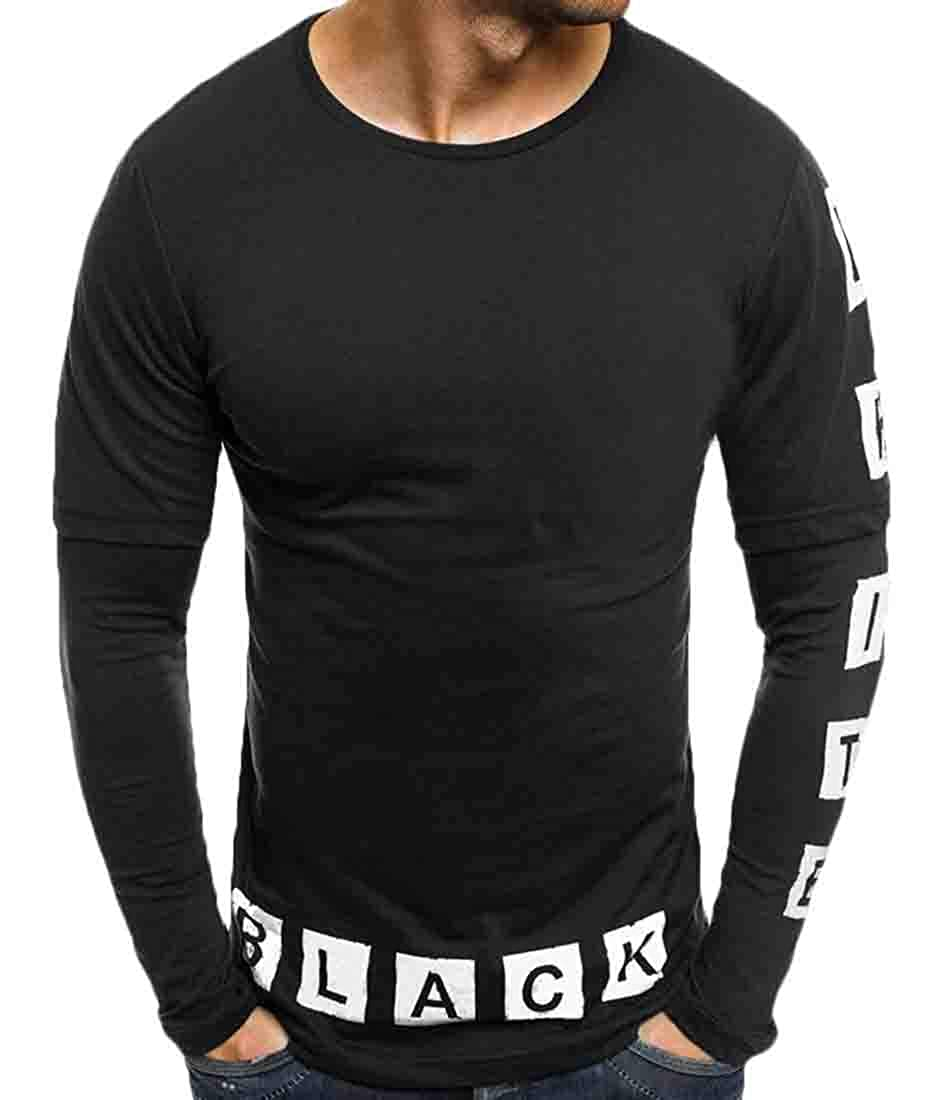 Domple Mens Casual Long Sleeve Round Neck Letters Print Tee Top T-Shirts