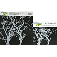 "The Crafter's Workshop Set of 2 Stencils - Branches 12"" x 12"" Mini 6"" x 6"" - Includes 1 each TCW208 and TCW208s - Bundle 2 Items"