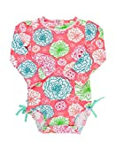 RuffleButts Little Girls Long Sleeve One Piece Swimsuit - Tropical Garden with UPF 50+ Sun Protection - 12-18m
