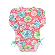 RuffleButts Infant/Toddler Girls Long Sleeve UPF 50+ One Piece Rash Guard Swimsuit - Tropical Garden - 0-3m
