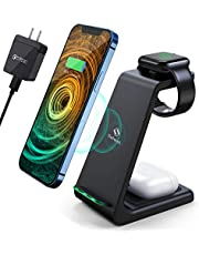 $33 » Wireless Charging Station, Saferell 3 in 1 Qi-Certified Fast Charging Station,Wireless Charger Stand for iPhone 12/11 Pro Max/X/Xs Max/8/8 Plus, AirPods 2/pro, iWatch Series, and Samsung Phones