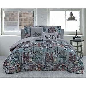 Amazon Com 5 Piece Grey Pink Blue Girls I Love Paris Theme Comforter Queen Set Beautiful