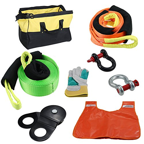 IZTOSS Off Road Recovery Winch Kit(8PCS) Rigging kit Including Gear Bag,Snatch Block Pulley,Line Dampener,2 Recovery Strap,D Rings Leather Gloves Shovel