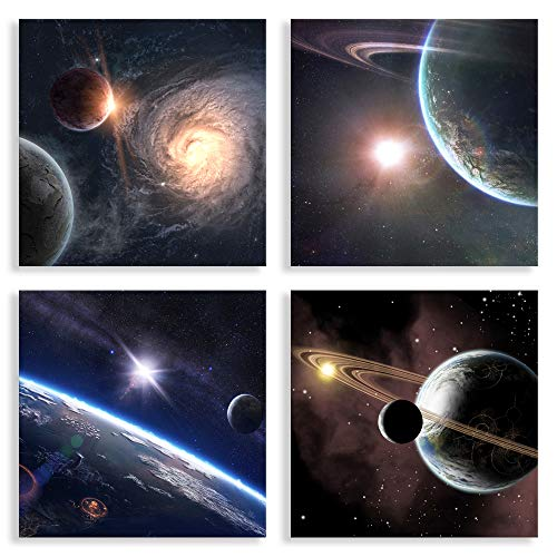 Satellite View Canvas Set,Outer Space Stars Print Creative Galaxy Wall Art Decor for Bedroom, Modern Home Decor Universe Artwork Wall Print Planetary Wall Decor Astronomy Abstract -