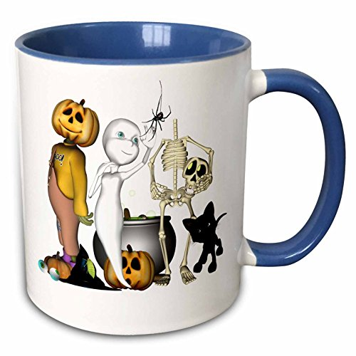 3dRose Renderly Yours Autumn And Halloween - Cute Halloween Toons With Ghost Jack Skeleton And Black Cat - 11oz Two-Tone Blue Mug (Cute Halloween Pic)