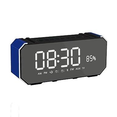 DG100 - Reloj despertador inalámbrico con altavoz Bluetooth y altavoz con pantalla de subwoofer portátil para