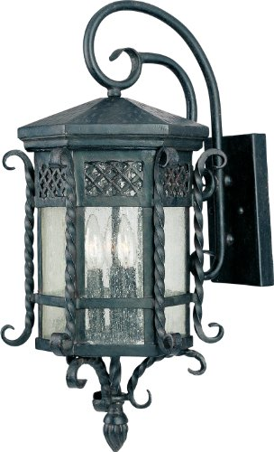 (Maxim 30124CDCF Scottsdale 3-Light Outdoor Wall Lantern, Country Forge Finish, Seedy Glass, CA Incandescent Incandescent Bulb , 60W Max., Dry Safety Rating, Standard Dimmable, Fiber Fabric Shade Material, 2600 Rated Lumens)